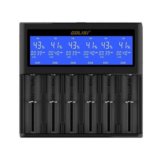شارژر هوشمند گلیسی شش گانه   GOLISI S6 FAST SMART CHARGER WITH LCD SCREEN